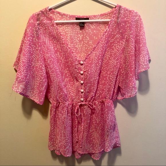 Forever 21 Pink Polka Dot Short Sleeve Blouse